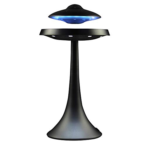 Levitating Floating Speaker, Magnetic UFO Bluetooth Speaker V4.0, LED Lamp Bluetooth Speaker with 5W Stereo Sound, Wireless Charge, 360 Degree Rotation, for Home/Office Decor,Unique Gifts(Black)