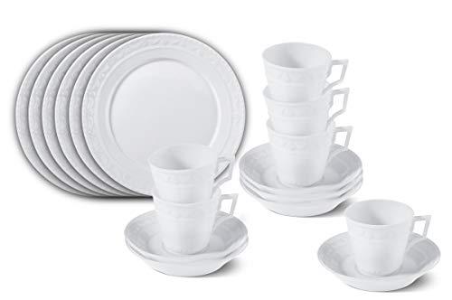 KPM Berlin KURLAND Breakfast-Set Porzellan 18-teilig - Porzellan-Set - Teller-Set - Tassen-Set - das perfekte Set für einen tollen Start in den Tag - handgemacht & als Geschenk verpackt - Weiß