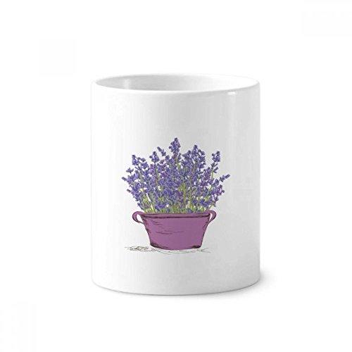 Purple Lavender Pot Flower Plant Toothbrush Pen Holder Mug Ceramic Stand Pencil Cup