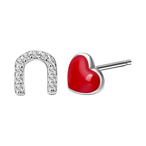 WGGTX Arete Stud Pendientes Pendientes Amor Heart Silver Drop Glaze Asymmetrical Stud Pendientes Moda Dulce Regalos