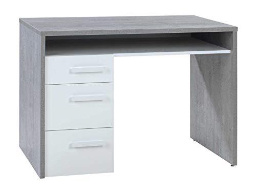 Schreibtisch Computertisch Arbeitstisch | Betonoptik | Weiß Hochglanz | 110x60 cm