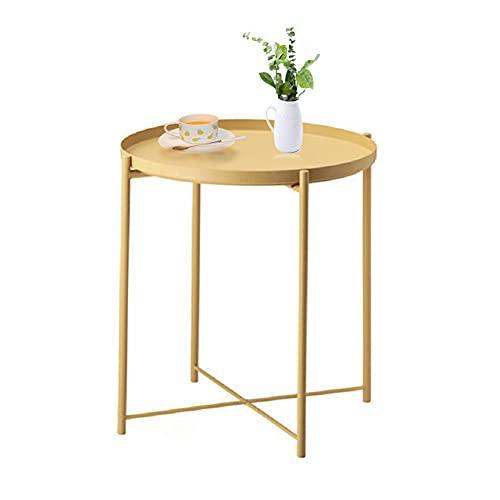 Tavolino vassoio, tavolino rotondo, tavolino da esterno in metallo piccolo divano da caffè, tavolino accento da interno, tavolo rimovibile impermeabile per soggiorno, camera da letto, balcone, Nero