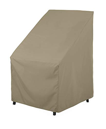 """SunPatio Outdoor High Back Chair Cover, Heavy Duty Waterproof Patio Chair Covers, Fade Resistant Outdoor Stackable Chair Covers, Air Vents, All Weather Protection, 27"""" W x 30"""" D x 42"""" H, Neutral Taupe"""