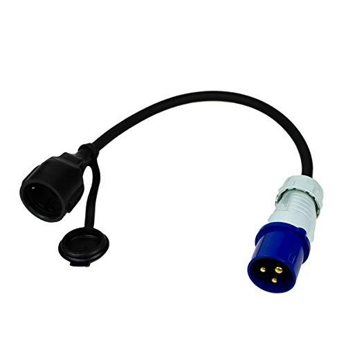 Cable adaptador de enchufe CEE a enchufe de protección de contacto, 35 cm, IP44, resistente a salpicaduras, H07RN-F 3G2,5, 230 V/16 A, 3 pines, 3500 W para camping, caravanas y caravanas