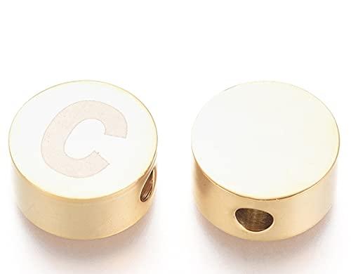 Sadingo Perla con letra C, 1 unidad, 10 mm, gran perla para enhebrar, joyas iniciales, manualidades, pendientes