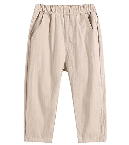 ZRFNFMA Ropa de los Niños Pantalones de Verano Ropa de Nueve Punto Pantalones de los Niños de Verano de Algodón y Lino de los Niños Casual Pantalones de color caqui-120