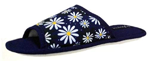 de fonseca Pantofole Ciabatte Donna Cotone MOD. Bari Top W510 Fiori Blu (38/39)