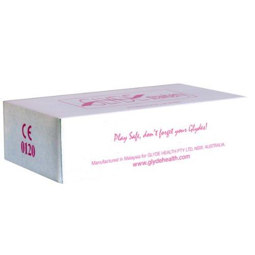 Glyde Ultra Strawberry, 100 veganistische condooms, roode condooms met aardbeiensmaak, zonder dierlijke ingrediënten als caseïne, gecertificeerd met de veganistische bloem