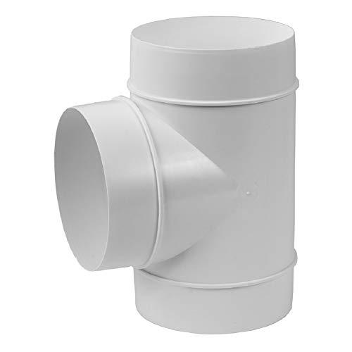 Ø 100mm Rohr T-Stück Verbinder PVC Kunststoff Weiß Lüftungsrohr
