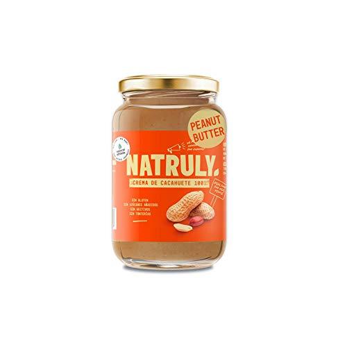 NATRULY Crema de Cacahuete Sin Azúcar, Vegana, Sin Gluten, Sin Lactosa, 100% Cacahuete -500g