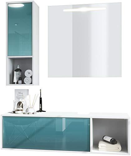 Conjunto de Muebles para baño La Costa, Cuerpo en Blanco Mate/Frentes petróleo de Alto Brillo, con Espejo LED