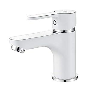 Ibergrif M11022W Square, Grifo de Baño, Mezclador Monomando para Lavabo, Blanco, Plata