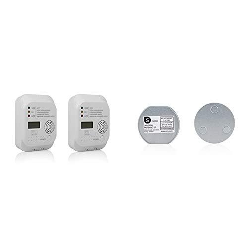 Smartwares Kohlenmonoxid Melder mit Display und Temperaturanzeige, Prüftaste, RM370, 2 Stück & Magenthalter für Rauchmelder/6 cm Ø/Magnetbefestigung für Rauchmelder, RMAG60