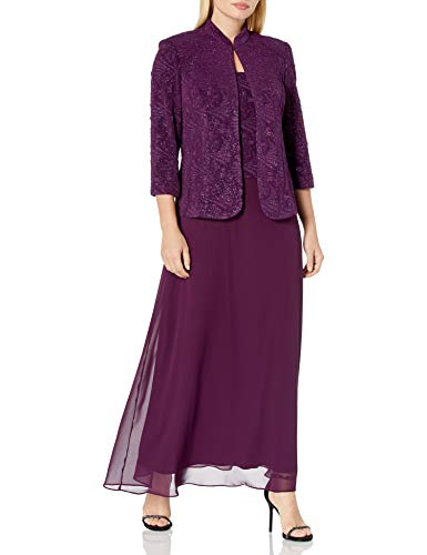 Alex Evenings Women's Jacquard Long Dress Mandarin-Neck Jacket (Petite Regular), Eggplant, 14