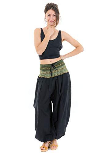 FANTAZIA Pantalon Sarouel Indian Chic Sari Kaki - Taille Unique - 100% Coton - Noir - Baba Cool Roots - Confortable & Original - Créé en France, Fabrication Ethique Depuis 2004 - Harem Pants