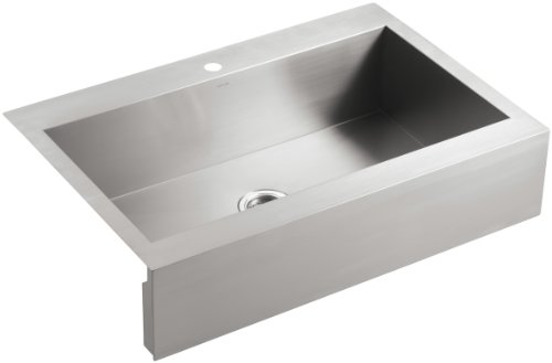 KOHLER Vault Single Bowl 18-Gauge Stainless Steel Apron Front Three Faucet Hole Kitchen Sink, Top-mount Drop-in Installation K-3942-3-NA