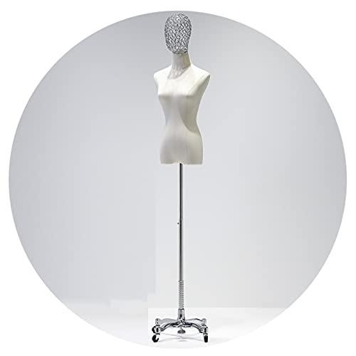 HAIPENG Maniquí Costura Busto Hembra, Mannekin Sastre Ropa Soporte Exhibición, Forma Vestido con Cabeza para Modistas, Ajustable Base Rueda Universal, 2 Estilos (Color : Silver, Size : A)