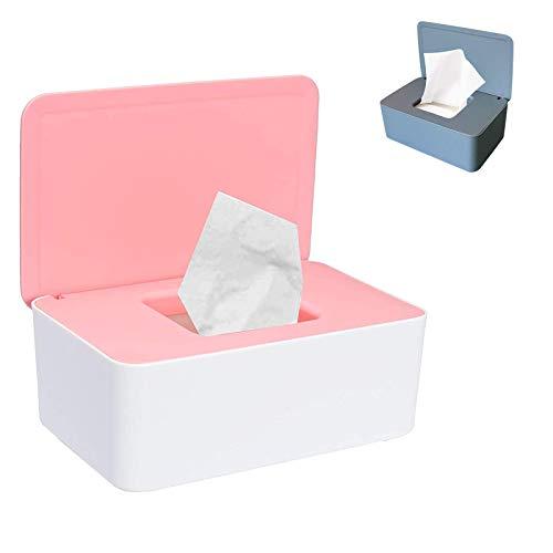 Blanco Caja dispensadora de toallitas h/úmedas de tejido seco con tapa de sellado Limpie el contenedor de la servilleta del contenedor para el hogar de escritorio PopHMN Dispensador de toallitas