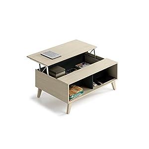 COMIFORT Tavolino Sollevabile Estensibile Molto Resistente Moderno Colore Weng/é Gambe in Faggio 100/% Naturale Tavolino da Salotto Multifunzionale con Gran capacit/à di Contenimento e Libreria