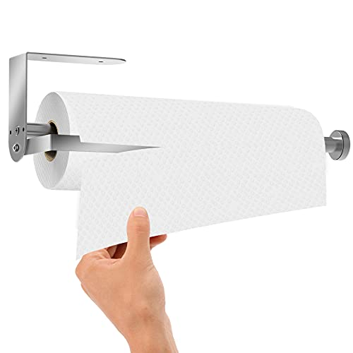 Qodalyth ONE Hand Tear Paper Towel Holder Wall Mount with Adjustable Tension Arm - Under Cabinet Paper Towel Holders, Fit Any Size Paper Towel Rolls