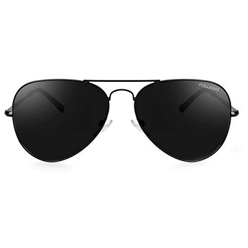 fawova Gafas de Sol Aviador Hombre Negro, Gafas Hombre Polarizadas Piloto Negro con Montura Metal Negro, Conducir, Pescar, Golf, Correr, Cat.3