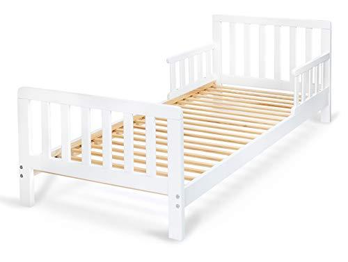 Kinderbett Giraffe Kleinkindbett Juniorbett Einzelbett Massivholzbett 140x70cm (Farbe: weiß)