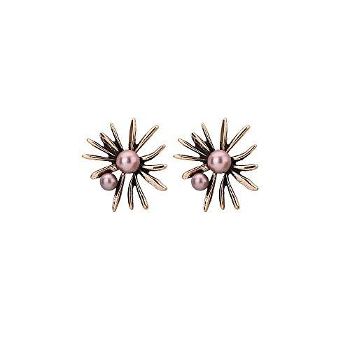 YAZILIND aleación algas imitación perla Stud pendientes Baroco estilo mujeres joyería regalo