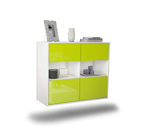 Dekati dressoir Richmond hangend (92x77x35cm) romp wit mat | front hoogglans design | Push-to-Open modern groen