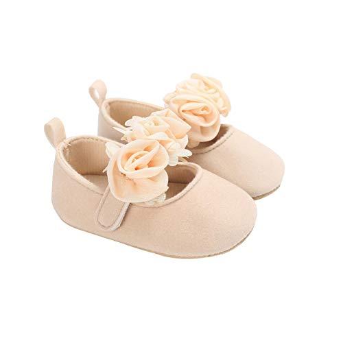 DEBAIJIA Baby Mädchen Prinzessin Schuhe Kleinkind Schöne Frühling Blume Weiche Sohle rutschfeste Baumwolle Geeignet für 6-18 Monate Klettverschluss Beige 18 EU (Etikettengröße 2)