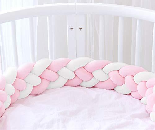 Icegrey Trenza Protector de Cuna 4 Trenzada Bebe Parachoques Cuna Protector de Cabeza para Proteger Bebe y Decorar la Cuna con Bolsa de Lavandería, Rosa + Rosa + Blanco + Blanco, 3m