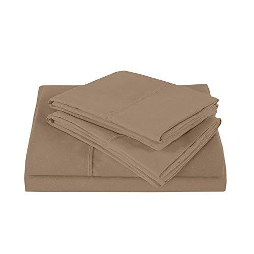 British Choice Linen Parure de lit 4 pièces Ultra agréable élégant, confortable en satin de coton 100 % coton égyptien 650 fils, 100 % coton, Taupe Solid, Taille king size britannique