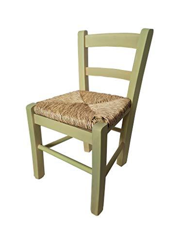 Totò Piccinni Chaise bébé en bois, assise paille, petite chaise pour enfant, méthode Montessori, couleur vert clair.