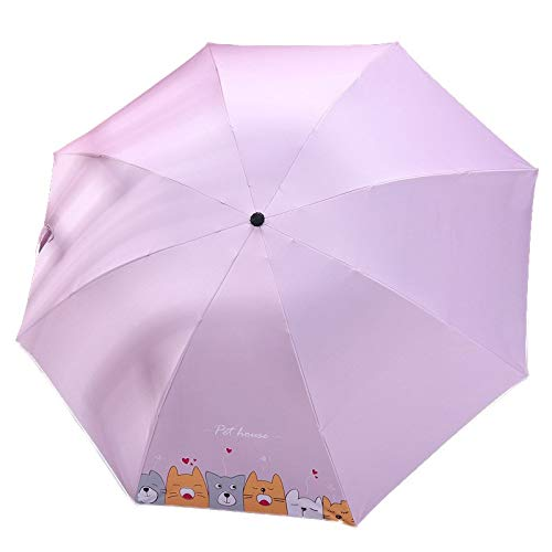 Sombrilla for protegerse del Sol y protección UV Sol y la Lluvia (Color : Pink)