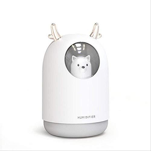 Humidificador Ambientador Mini Humidificador Usb Cool Mist Humidificador De Aire Portátil Lindo Con Luz Nocturna Difusor De Aire Para Dormitorio Habitación De Bebé Oficina En Casa Coche blanco