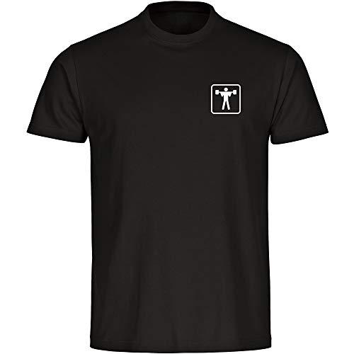 T-Shirt Gewichtheben Gewichtheber Piktogramm auf der Brust schwarz Herren Gr. S bis 5XL - Shirt Trikot Sportshirt Logo, Größe:L