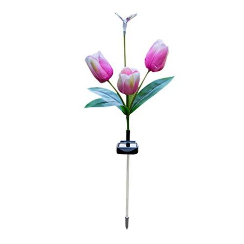 Mobestech Zonne-Energie Bloem Lamp Libel Gekleurde Tulp Landschap Lamp Tuin Staakverlichting Buiten Decoratieve Verlichting Voor Gazon Patio Tuin (Roze)