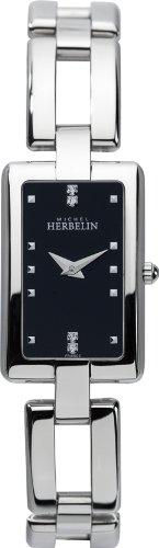 Women'Michel Herbelin Herren Quarzuhr mit schwarzem Zifferblatt Analog-Anzeige und Silber-Edelstahl-Armband 17466-B54