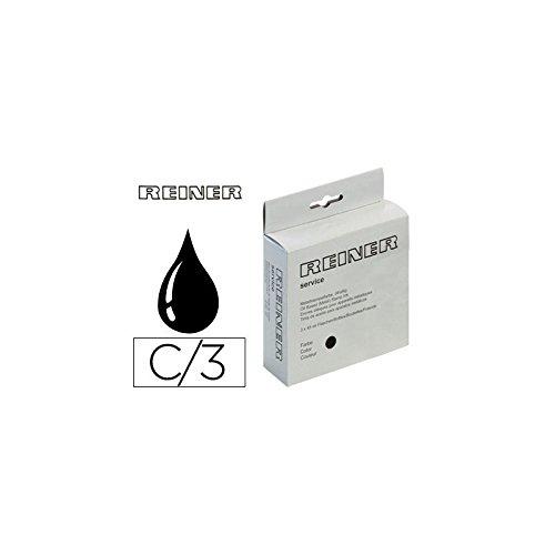 Reiner R343N 45 ML - Pack de 3 tintas para sellos, color negro