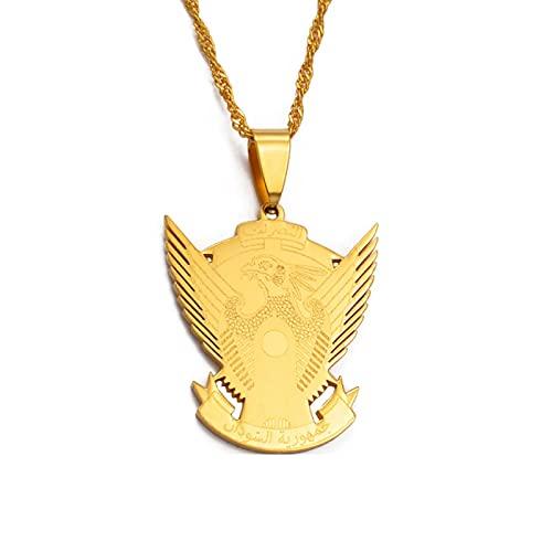 QDGERWGY Collares Pendientes con Emblema Nacional de Sudán del Sur, joyería de Color Plateado/Dorado, joyería étnica de Sudán del Sur