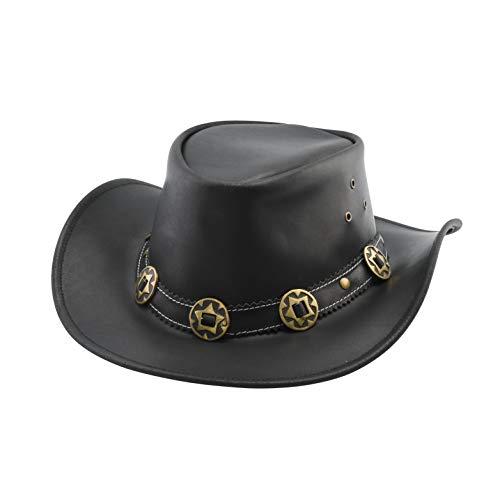 Zwarte Jungle YARRAM Lederen hoed Westerse hoed Cowboy hoed Australië hoed.