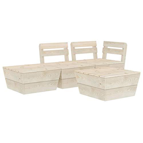 vidaXL Impregnated Spruce Wood Garden Pallet Lounge Set 4 Piece Wooden Outdoor Furniture Set Patio Seating Modular Sectional Lounge Sofa
