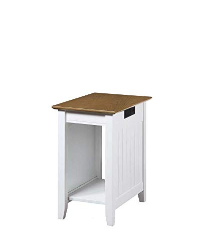 Convenience Concepts Edison End Table with Charging Station, Driftwood/White