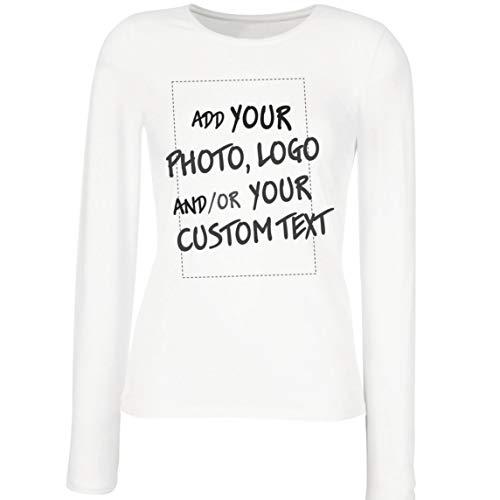 lepni.me Camisetas de Manga Larga para Mujer Regalo Personalizado, Agregar Logotipo de la Compañía, Diseño Propio o Foto (Large Blanco Multicolor)