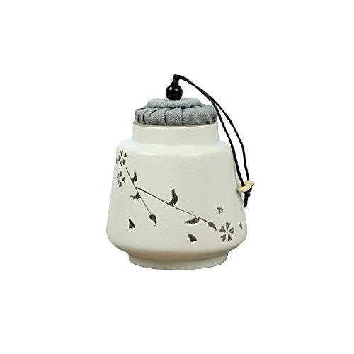 ZWH-Begräbnisurnen Urne Beerdigung Silber Kirschblüte Steinzeug Retro Mini Keramik Eine kleine Anzahl von Menschen oder Haustiere Asche Dosen Kork Dichtung Mini Trompete Souvenir (Color : White)