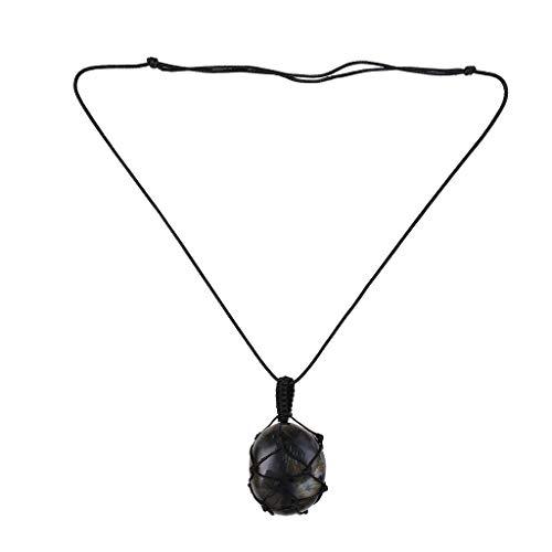 GUMEI Collar de labradorita, Collar de macramé de Yoga para Hombres y Mujeres, Collar de energía