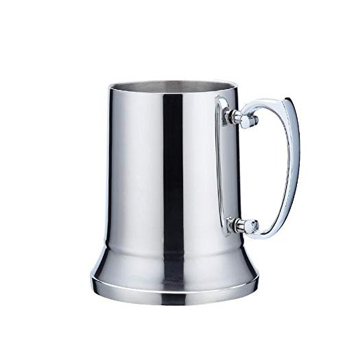 Jarra de cerveza de acero inoxidable de doble pared de 450 ml con asa reforzada, base antideslizante, taza de viaje resistente al calor para té, café con leche, cerveza, cócteles.