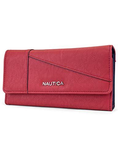 Nautica Money Manager RFID Women's Wallet Clutch Organizer (Fuego Red (Buff))