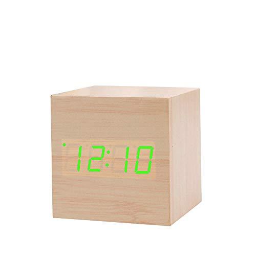 Digitale Mute-Wekker Met Datumtemperatuur Tijdweergave USB/Batterijvoeding Geschikt Voor Slaapkamers Woonkamer Keuken Beste Cadeau Voor Kinderen,Green font