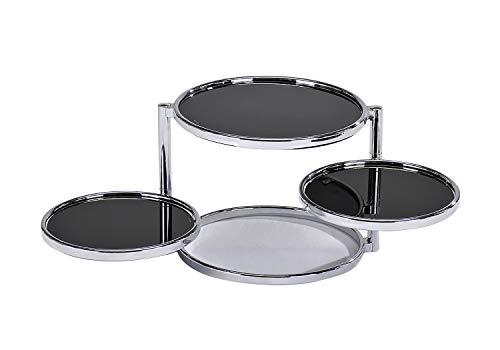 Meubletmoi Table Basse chromé Moderne Ronde 3 Plateaux en Verre Noir Transparent - Design Moderne Contemporain - Studio 54