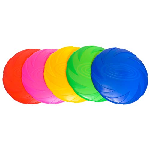 YHMY Silicone Frisbee Flying Disc Toy for Kids and Pets Flying Saucers for School, Prizes, Party Favors, Indoor Outdoor Game Colorful 5 Pack Bulk Set
